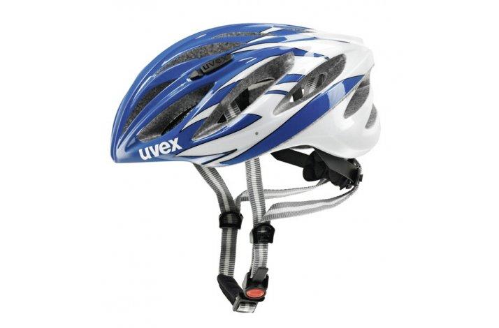 Uvex boss race - hvid-blå cykelhjelm