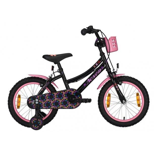 Noxon Pige cykel med kurv 12 - 16 tommer Sort pink